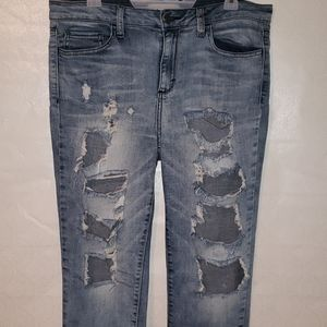 Cello Heavily Distressed/Ripped Washed Jeans Sz 17